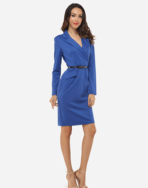 photo Plain Elegant Courtly V Neck Bodycon Dress by FashionMia, color Blue - Image 5