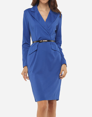 photo Plain Elegant Courtly V Neck Bodycon Dress by FashionMia, color Blue - Image 1