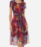 photo Hollow Out Printed Bowknot Captivating Round Neck Skater Dress by FashionMia, color Claret Red - Image 2