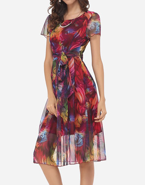 photo Hollow Out Printed Bowknot Captivating Round Neck Skater Dress by FashionMia, color Claret Red - Image 3