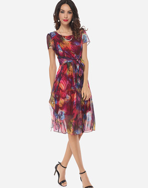 photo Hollow Out Printed Bowknot Captivating Round Neck Skater Dress by FashionMia, color Claret Red - Image 5