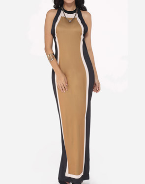 photo Assorted Colors Vintage Trendy Crew Neck Maxi Dress by FashionMia, color Camel - Image 1