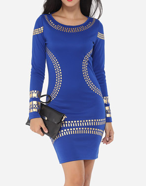 photo Printed Designed Round Neck Bodycon Dress by FashionMia, color Blue - Image 1