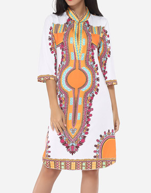 photo Printed Tribal Extraordinary Band Collar Shift Dress by FashionMia, color Orange - Image 2