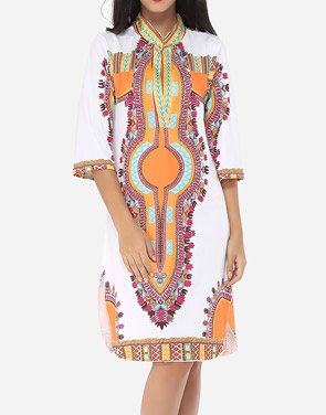 photo Printed Tribal Extraordinary Band Collar Shift Dress by FashionMia, color Orange - Image 1
