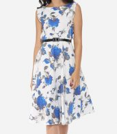 photo Floral Printed Exquisite Round Neck Skater Dress by FashionMia, color Blue - Image 2