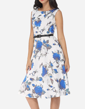 photo Floral Printed Exquisite Round Neck Skater Dress by FashionMia, color Blue - Image 3