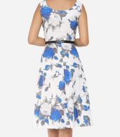photo Floral Printed Exquisite Round Neck Skater Dress by FashionMia, color Blue - Image 4