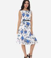 photo Floral Printed Exquisite Round Neck Skater Dress by FashionMia, color Blue - Image 5