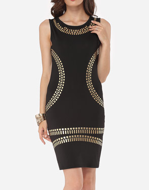 photo Printed Designed Round Neck Bodycon Dress by FashionMia, color Black - Image 2