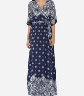 photo Bohemian Printed Split Cross Straps Loose Fitting Charming V Neck Maxi Dress by FashionMia, color Dark Blue - Image 2