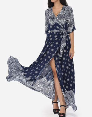 photo Bohemian Printed Split Cross Straps Loose Fitting Charming V Neck Maxi Dress by FashionMia, color Dark Blue - Image 3