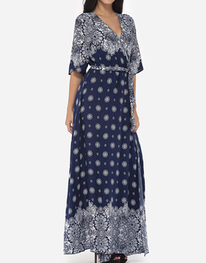 photo Bohemian Printed Split Cross Straps Loose Fitting Charming V Neck Maxi Dress by FashionMia, color Dark Blue - Image 4