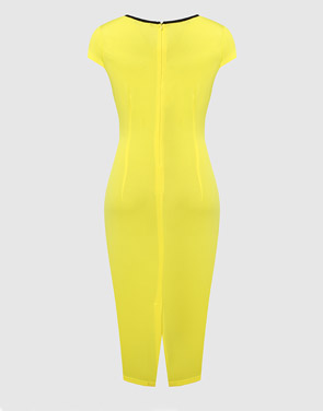 photo Color Block Crew Neck Bodycon Dress by FashionMia - Image 2