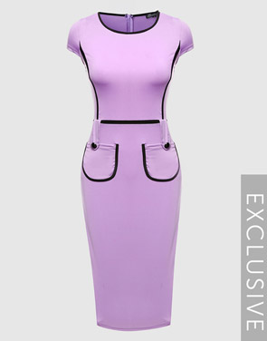 photo Color Block Crew Neck Bodycon Dress by FashionMia - Image 3