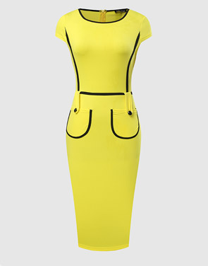 photo Color Block Crew Neck Bodycon Dress by FashionMia - Image 1