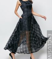 photo Plaid Plain Slash Neck Maxi Dress by FashionMia, color Black - Image 1
