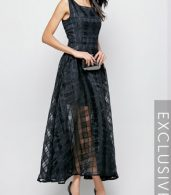 photo Plaid Plain Slash Neck Maxi Dress by FashionMia, color Black - Image 3