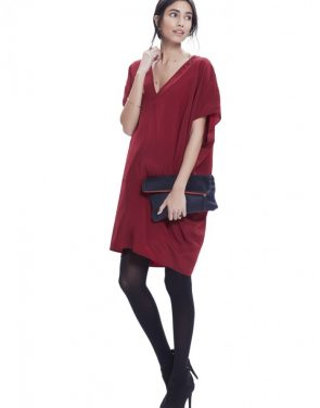 photo The Slouch Dress by Hatch Collection, color Red Cabernet - Image 1