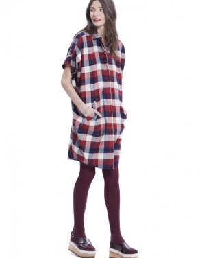 photo The Buttondown Dress by Hatch Collection, Red Blue Box Plaid - Image 2