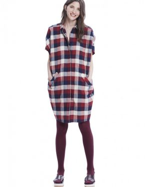 photo The Buttondown Dress by Hatch Collection, Red Blue Box Plaid - Image 1