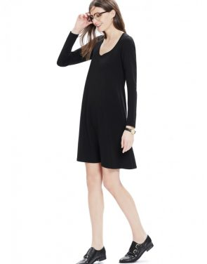 photo The Longsleeve A-Line Dress by Hatch Collection, color Black - Image 2
