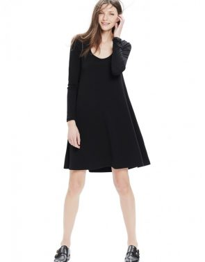 photo The Longsleeve A-Line Dress by Hatch Collection, color Black - Image 1