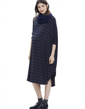 photo The Jersey Drape Dress by Hatch Collection, color Charcoal Navy - Image 1