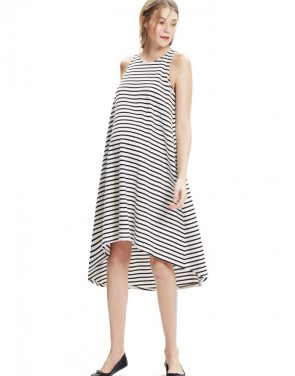 photo The Nantucket Dress by Hatch Collection, color Black Ivory Stripe - Image 1