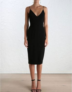 photo Crepe Harness Midi Dress by Zimmermann, Black color - Image 2