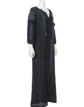 photo Maxi Bohemian Dress by Nili Lotan, Dark Navy/Indigo color - Image 2