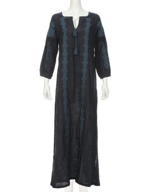 photo Maxi Bohemian Dress by Nili Lotan, Dark Navy/Indigo color - Image 1