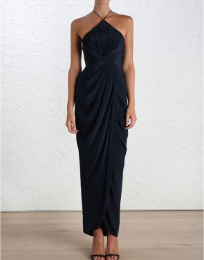 photo Silk Tuck Long Dress by Zimmermann, French Navy color - Image 2