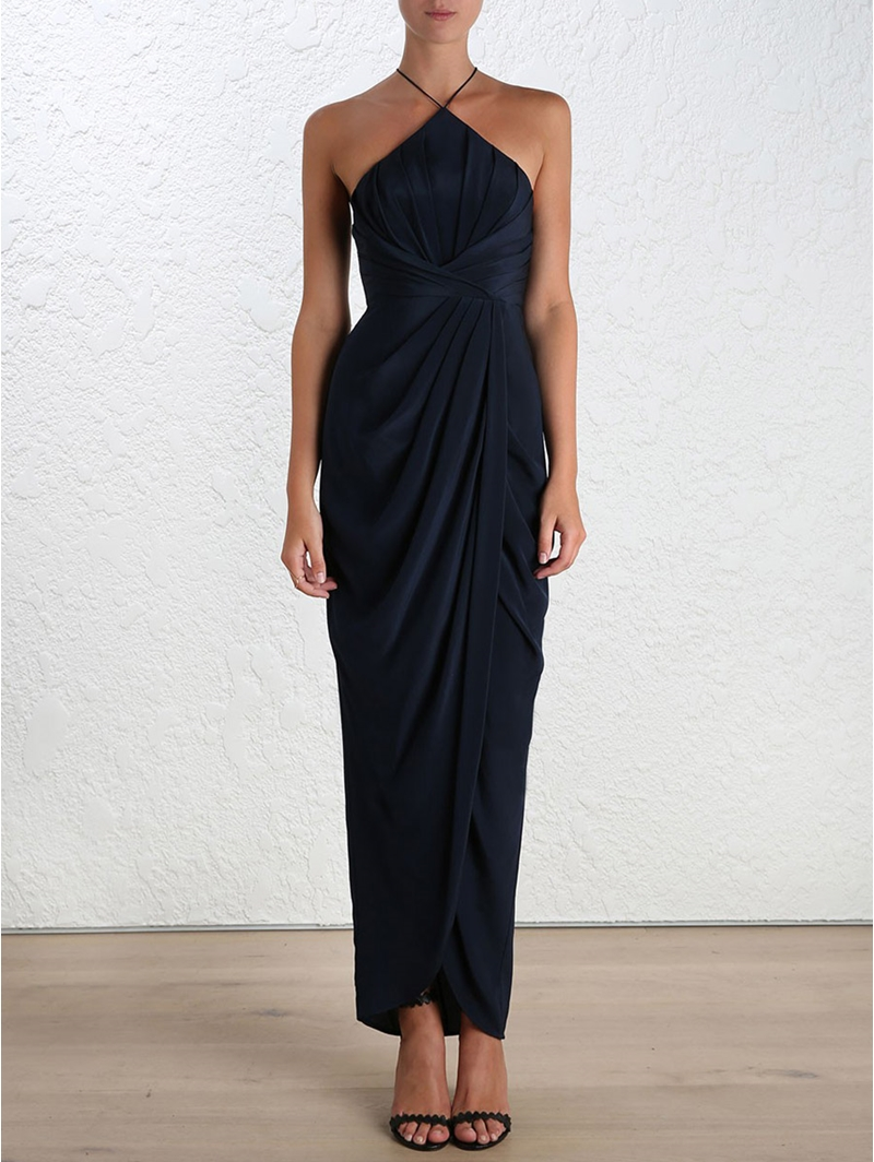 af4fc4ba59ae photo Silk Tuck Long Dress by Zimmermann, French Navy color - Image 2
