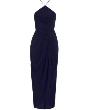 photo Silk Tuck Long Dress by Zimmermann, French Navy color - Image 1