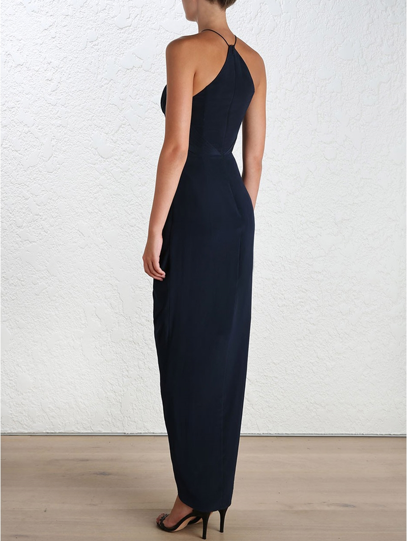 c4d87acae1e3 photo Silk Tuck Long Dress by Zimmermann, French Navy color - Image 4