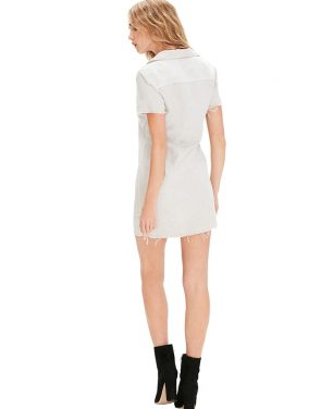photo Short Sleeve Frechie Fray Dress by Mother 9193324S16, White color - Image 2