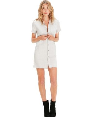 photo Short Sleeve Frechie Fray Dress by Mother 9193324S16, White color - Image 1