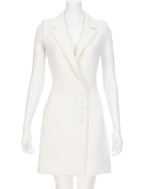 photo Textured Crepe Sleeveless Dress by Nicholas D1015TCA16, Ivory color - Image 1