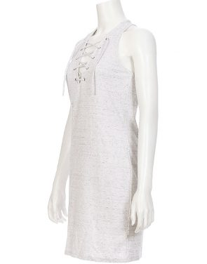 photo Patsy Lace Up Tank Dress by Nytt NYD3103S16, Marble Ponte color - Image 2