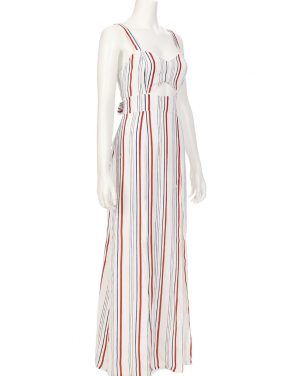 photo Stripe Cutout Maxi Dress by Tularosa TR16D243S16, Blue/Red Stripe color - Image 2