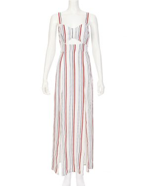 photo Stripe Cutout Maxi Dress by Tularosa TR16D243S16, Blue/Red Stripe color - Image 1