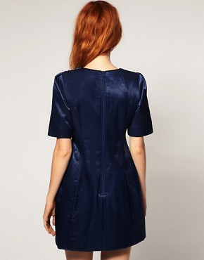 photo Shift Dress with Shoulder Beading by ASOS BLACK, color Blue - Image 2