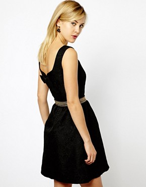 photo Bow Back Jacquard Skater Dress by A Wear, color Black - Image 2