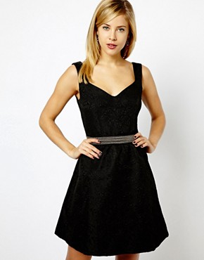 photo Bow Back Jacquard Skater Dress by A Wear, color Black - Image 1