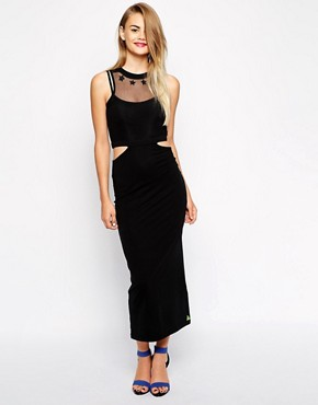 photo Cut Out Bodycon Dress with Mesh Detail by Pippa Lynn, color Black - Image 1