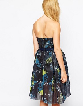 photo in Motion Strapless Dress in Printed Mesh by Three Floor, color Multi - Image 2
