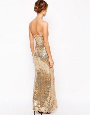 photo Strapless Sequin Maxi Dress by Lipstick Boutique Petite, color Gold - Image 2