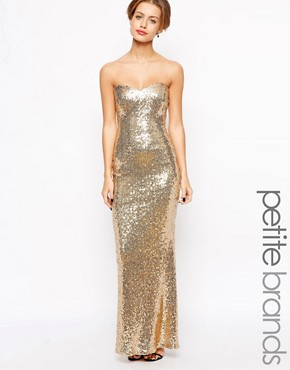 photo Strapless Sequin Maxi Dress by Lipstick Boutique Petite, color Gold - Image 1