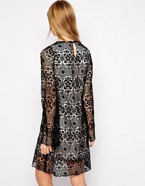 photo Lace Swing Dress with Fluted Sleeves by Little White Lies, color Black/Nude - Image 2